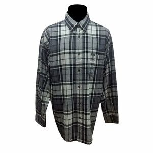 ST. JOHN'S BAY MEN'S XL BLACK GRAY PLAID SHIRT